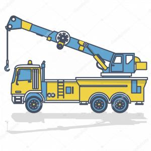 Tow Hook Vector Art: Stock Illustration Blue Yellow Outline Crane Hook