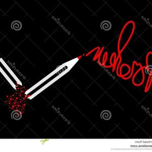 Broken Pencil Vector: Cartoon Vector Of A Cartoon Pencil Mascot With Memory Loss By Chromaco
