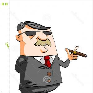 Cigar Cartoon Vector: Clip Art Vector Cartoon Of A Moodie Character Emoticon Smoking A Cigar And Pointing Up By Johnny Sajem
