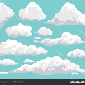 Clouds Backgrounds Vector: Stock Illustration Cartoon Clouds Set On Blue
