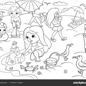 Vector Black And White Sand Beach: Stock Illustration Children Swimming At The Beach