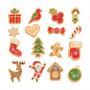 Warm Vector Of Christmas Cookies: Stock Illustration Christmas Cookies Set Ginger Decoration White Background Sweet Delicious Holiday Gift Santa Tree Image