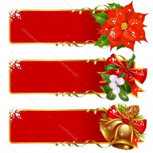 Christmas Horizontal Vector: Christmas Horizontal Banners Merry Spanish