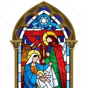 Gothic Religious Vector: Stock Illustration Christmas Stained Glass Window In