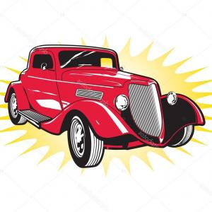 Classic Street Rod Vector Art: Stock Illustration Classic Red Street Rod