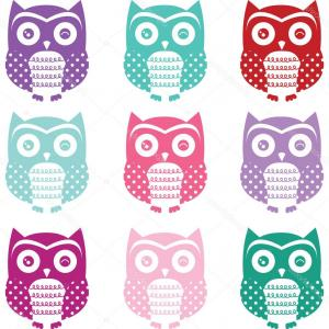 Owl Silhouette Vector Art: Ute Cartoon Owls And Birds Vector Clipart