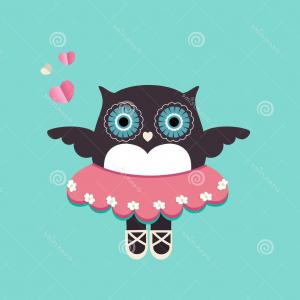 Vector Tie Tutu: Stock Illustration Cute Owl Ballerina Tutu Slippers Winds Flowers Eyes Image