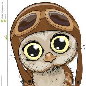 Hoot Owl Face With Vector: Stock Illustration Cute Owl Cartoon Pilot Hat White Background Image