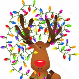 Stock Illustration Cute Reindeer With Christmas Lights