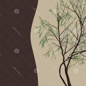 Vector Natural Willow: Stock Illustration Decorative Design Vector Frame Willow Tree Pattern Image