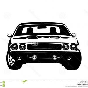Muscle Car Silhouette Vector High Res: Cartoon White Convertible Ford Mustang Muscle Car