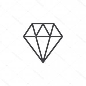 Gem Vector Outline: Stock Illustration Diamond Line Icon Outline Vector
