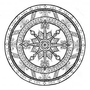 15 Black And White Snow Flakes Vector: Stock Illustration Doodle Snowflake Ethnic Christmas Mandala Theme Circle Ornament Hand Drawn Art Winter Black White Background Image