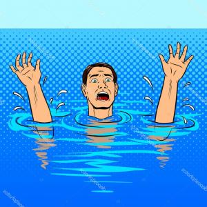 Man Drowning Vector: Stock Illustration Drowning Man Flat Vector Illustration Style Concept Reaching Out Hand Help Image