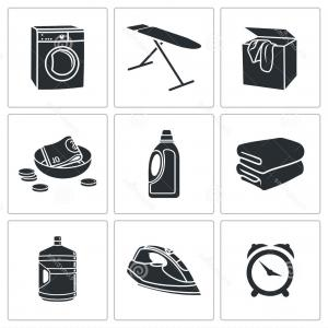 Dry Cleaning Vector: Dirty Things Dry Cleaning Single Icon In Outline Vector