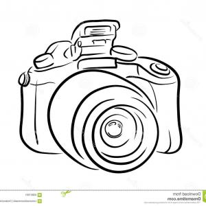 Stock Illustration Dslr Camera Line Art Hand Drawn Vector Perfect Company Logo Photography Projects Image
