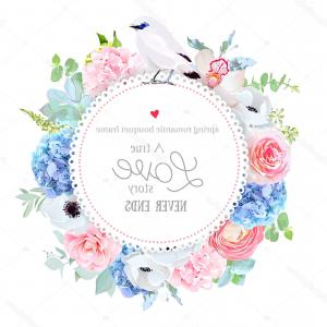 Vector Image Blue Hydrangeas: Stock Illustration Elegant Floral Vector Round Card