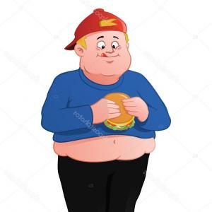 Fat Boy Logo Vector Art: Stock Illustration Fat Kid Eating A Hamburger