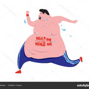 Man Vector Exercise: Stock Illustration Fat Man Exercising Vector Illustration