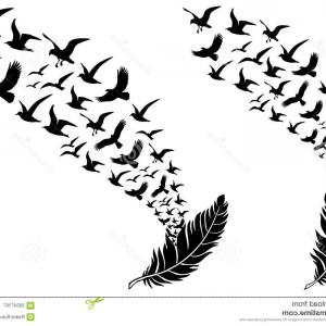Bird In -Flight Vector Image: Stock Illustration Birds Vector Seamless Pattern Black White Image