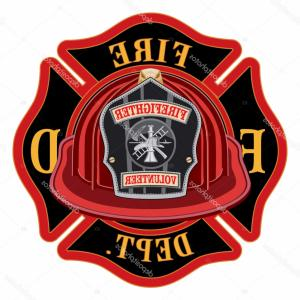 Fire Fighter Logo Vector: Stock Illustration Fire Department Cross Volunteer Red