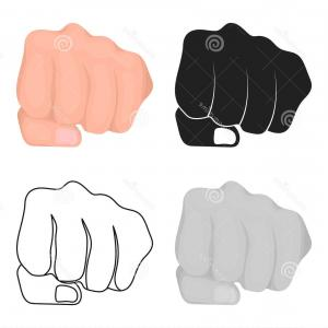 Emoji Fist Bump Vector Graphic: Businessman Does A Fist Bump With A Big Red Fist Gm