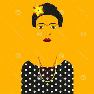 Frida Black And White Vector: Stock Illustration Frida Kahlo Vector Illustration Silhouette Black Dress White Flowers Colored Background Image