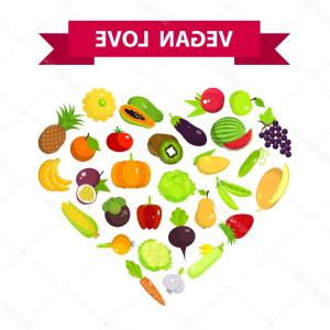 Vegan Heart Vectors: Stock Illustration Fruits And Vegetables Set In