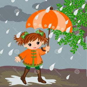 Dreamstime Stock Vector: Stock Illustration Girl Rain Little Rainy Day Illustrations Vector Concept Season Concept Image