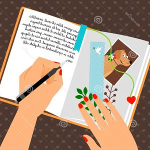 Notepad Writing Hand Vector: Photostock Vector Illustration Of Right Hand And Left Hand Laying On Table Writing Hand Pen And Notepad Making Notes W