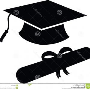 Diploma Icon Vector: Stock Illustration Graduation Hat Diploma Silhouette Cap Black Icon Symbol Image