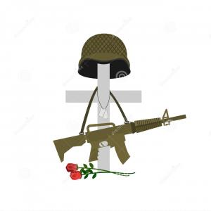 Battlefield Cross Vector: Stock Illustration Grave Fallen Soldier Death Military Cross Helm Helmet Automatic Gun Hanging Monument Tomb Veteran Image
