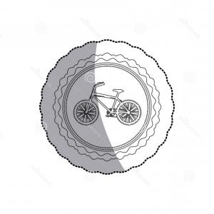 Round Frame Vector Silhouette: Stock Illustration Grayscale Silhouette Middle Shadow Sticker Bicycle Round Frame Vector Illustration Image