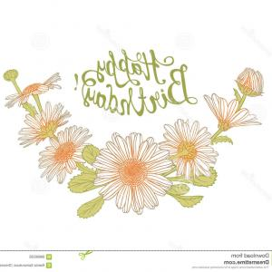 Vector Happy Birthday Flowers: Stock Illustration Happy Birthday Card Chamomile Flowers Vector Congratulation Image