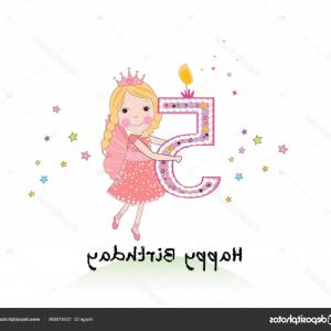 5th Birthday Vector Graphic: Stock Illustration Happy Fifth Birthday Candle Girl