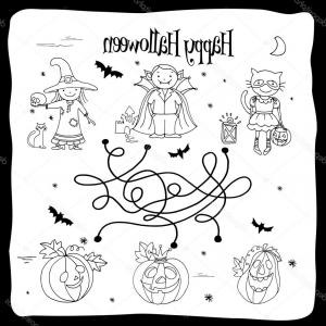 Vector Coloring Sheet: Coloring Page Halloween Cupcake Color By