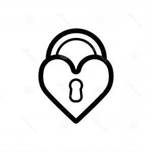Heart Lock Vector: Lock Shaped Heart Sketch Icon Vector