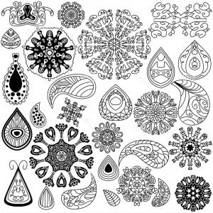 Razorback Vector Mandala: Stock Illustration Henna Doodle Vector Elements White Background Hand Drawn Vintage Floral Swirls Tattoo Image