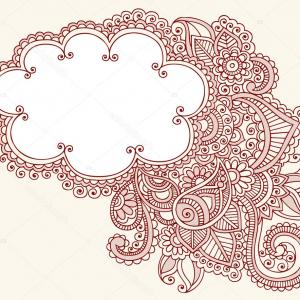 Simple Paisley Vector Border: Floral Oriental Horizontal Border Vector Clipart