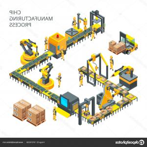 Vector Manufacturing Machine: Industrial Production Factory Conveyor Flat Vector Illustration Industrial Technology Conveyor Machine Production Image