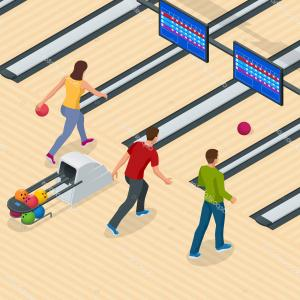 Vector Bowling Lanes: Stock Illustration Isometric Bowling Center Interior With