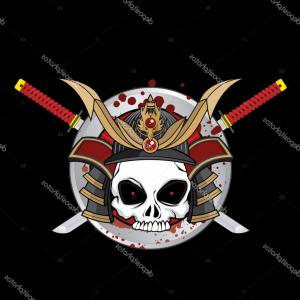 Skull Warrior Vector: Stock Illustration Japanese Skull Warrior Vector