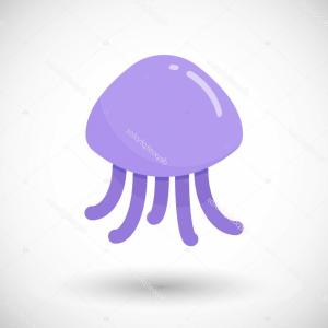 Jellyfish Vector: Stock Illustration Jellyfish Vector Flat Icon