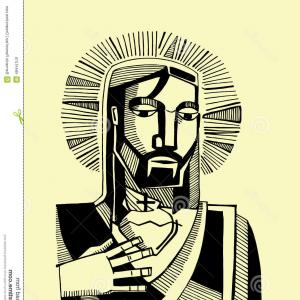 Jesus Secret Heart Vector: Stock Illustration Jesus Sacred Heart Hand Drawn Vector Illustration Drawing Christ His Image