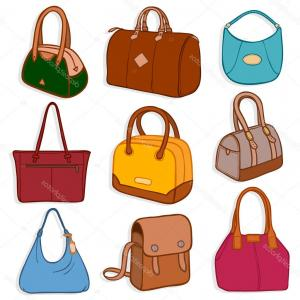 Purse Vector Art: Woman Bag Vector Girls Handbag Or Purse And Shopping Bag Or Baggy Package From Gm