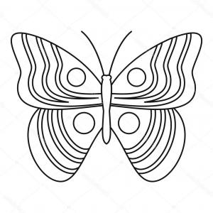 Butterfly Vector Outline Black: Stock Illustration Light Butterfly Icon Outline Style