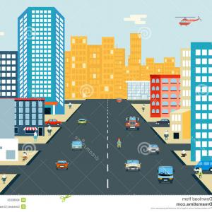 Vector Images Of Cars On Streets: Colorful Cityscape Urban Street With Cars And Buildings Vector Clipart