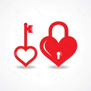 Heart Lock Vector: Photolock Shaped Heart And Skeleton Key
