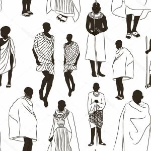 Vector African People: Photostock Vector Africa Black White Icons Set With African People And Animals Flat Isolated Vector Illustration