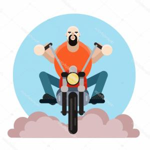 Biker Vector Illustration: Stock Illustration Man Biker Vector Illustration Bearded
